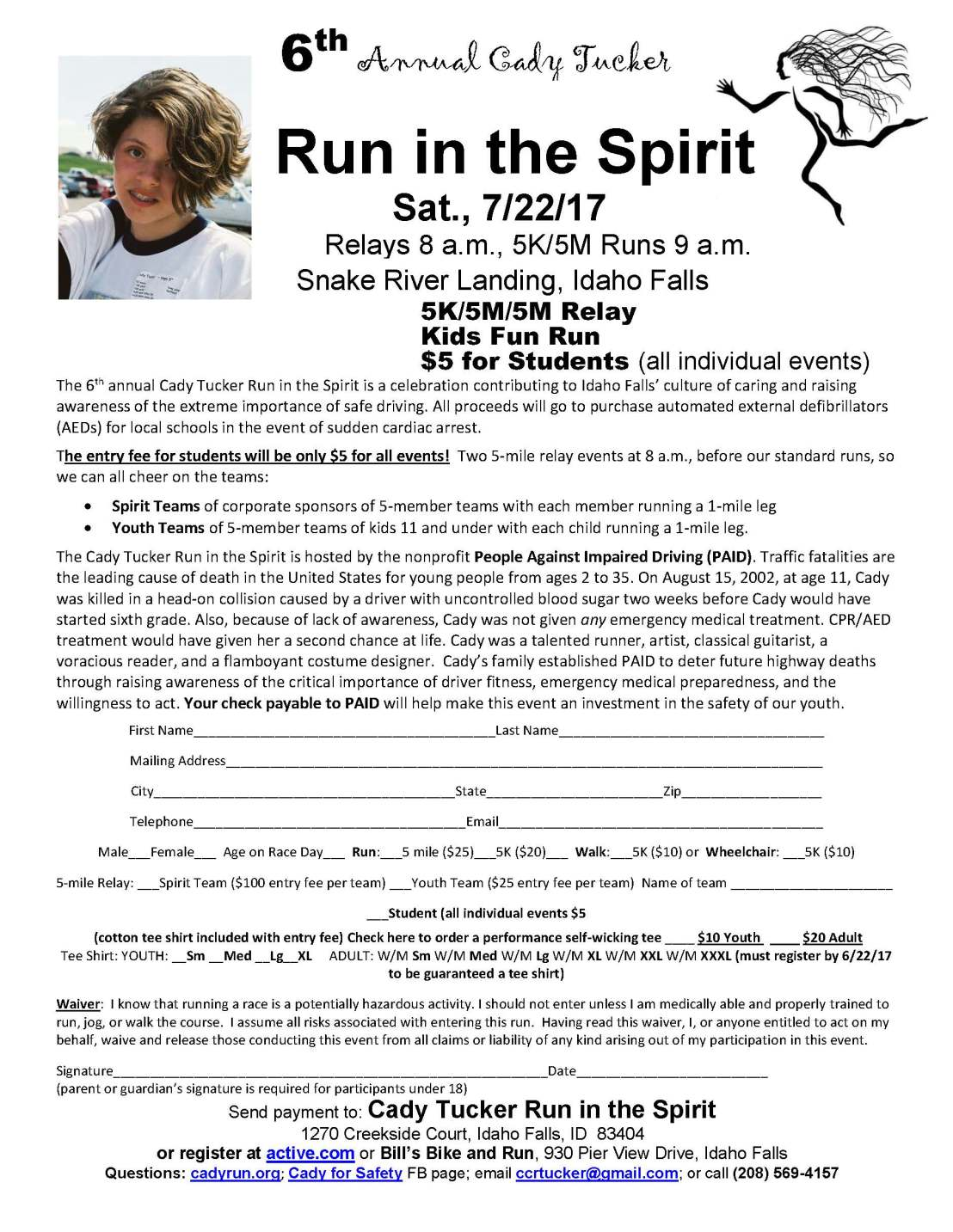 Cady 5K-5-mile registration 7-22-17-4-9-17